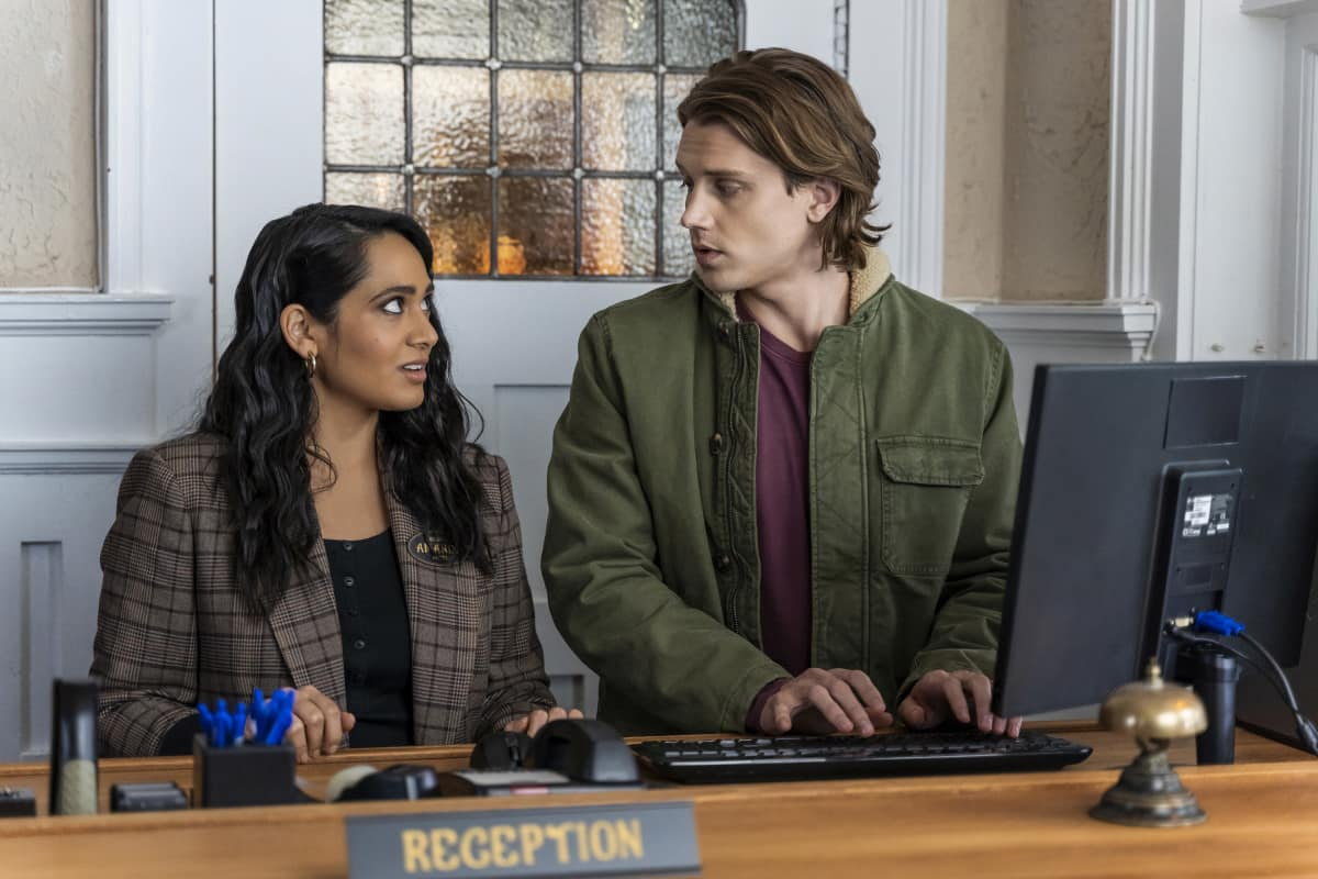 "Nancy Drew Season 2 Episode 7 -- ""The Legend of the Murder Hotel"" -- Image Number: NCD207a_0520r.jpg -- Pictured: Aadila Dosani as Amanda Bobbsey and Alex Saxon as Ace"