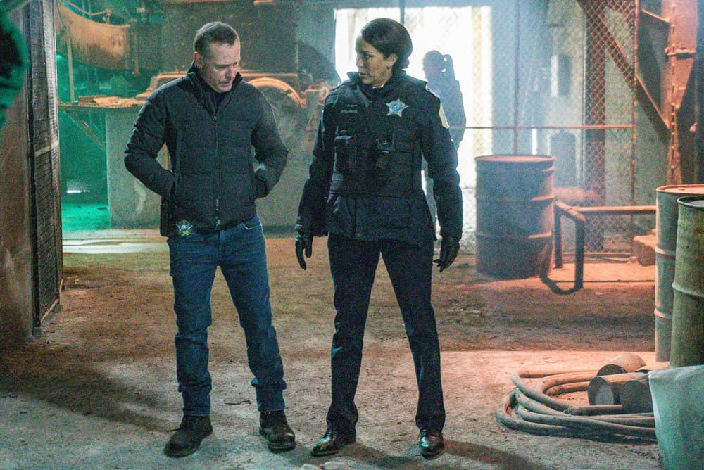 "CHICAGO PD Season 8 Episode 8 -- ""Protect And Serve"" Episode 808 -- Pictured: (l-r) Jason Beghe as Hank Voight, Nicole Ari Parker as Samantha Miller -- (Photo by: Matt Dinerstein/NBC)"
