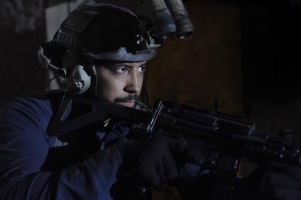 """Seal Team Season 4 Episode 9 """"Reckoning"""" – Pictured: Neil Brown Jr. as Ray Perry."""