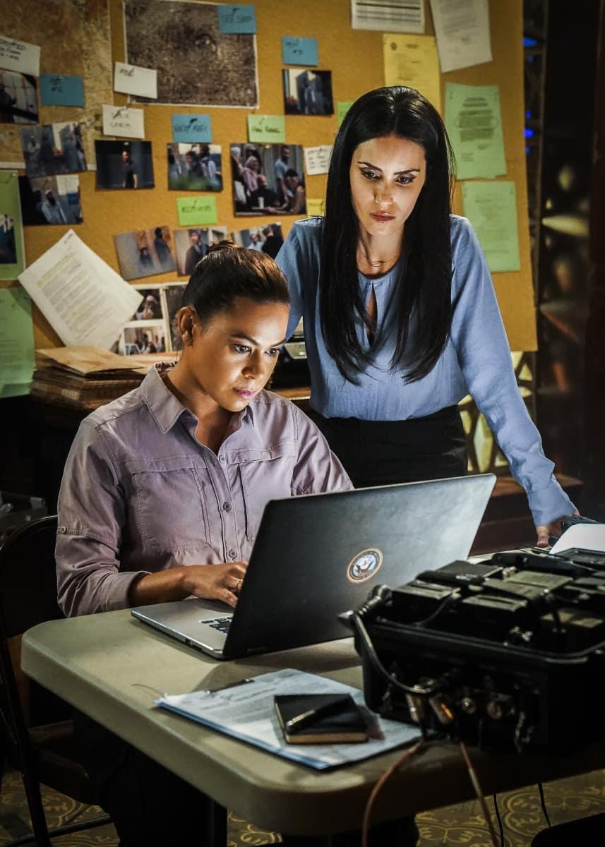 """Seal Team Season 4 Episode 9 """"Reckoning"""" Pictured L to R: Toni Trucks as Lisa Davis and Shiva Negar as Mina Hassan"""