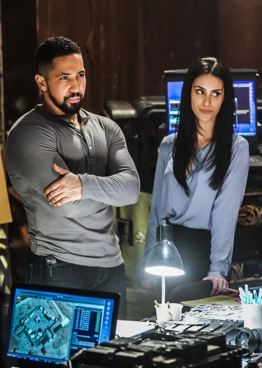 """Seal Team Season 4 Episode 9 """"Reckoning"""" Pictured L to R: Neil Brown Jr. as Ray Perry and Shiva Negar as Mina Hassan"""