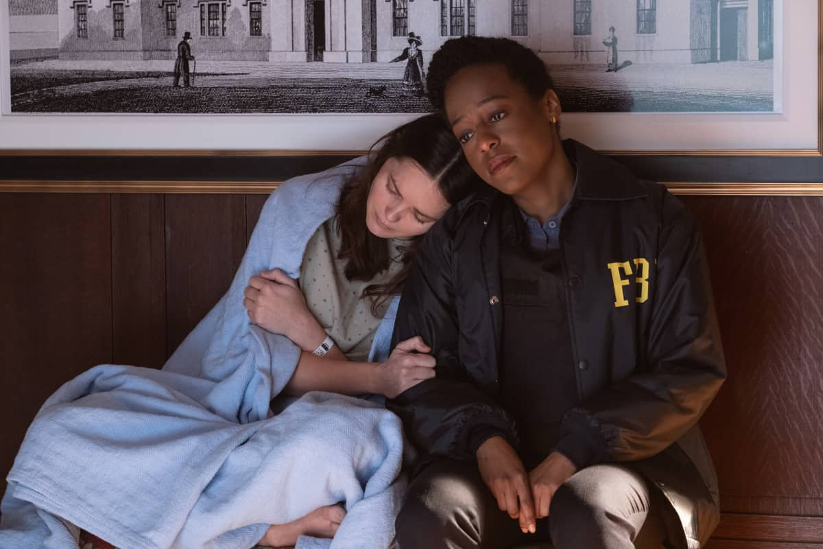 """Clarice Season 1 Episode 5 """"Get Right with God"""" - Pictured (L-R)  Rebecca Breeds as Clarice Starling and  Devyn Tyler as Ardelia Mapp"""