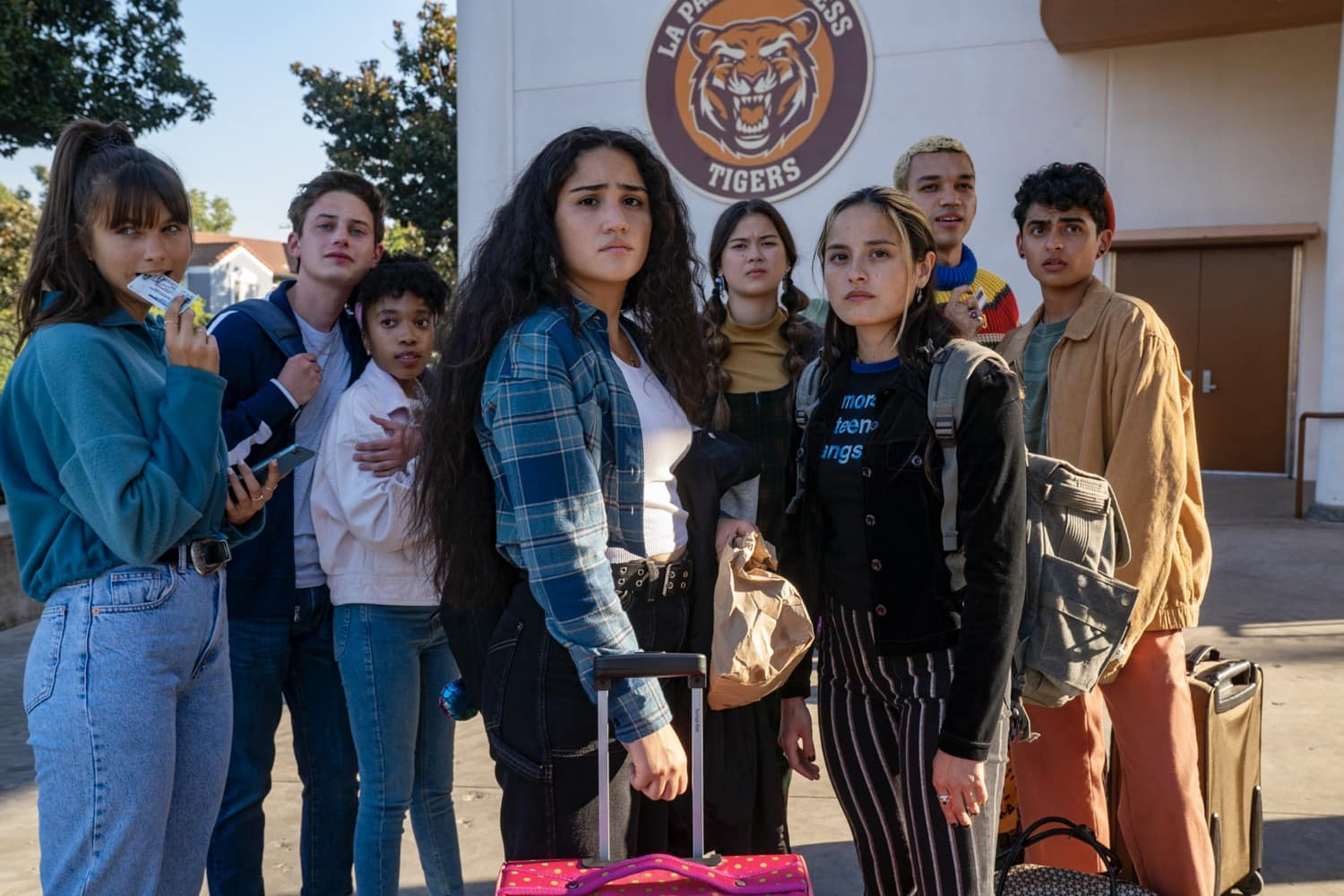 "Chloe East as ""Naomi,"" Uly Schlesinger as ""Nathan,"" Nathanya Alexander as ""Arianna,"" Haley Sanchez as ""Greta,"" Lukita Maxwell as ""Delilah,"" Chase Sui Wonders as ""Riley,"" Justice Smith as ""Chester,"" Sydney Mae Diaz as ""J"" Photograph by Warrick Page / HBO Max"