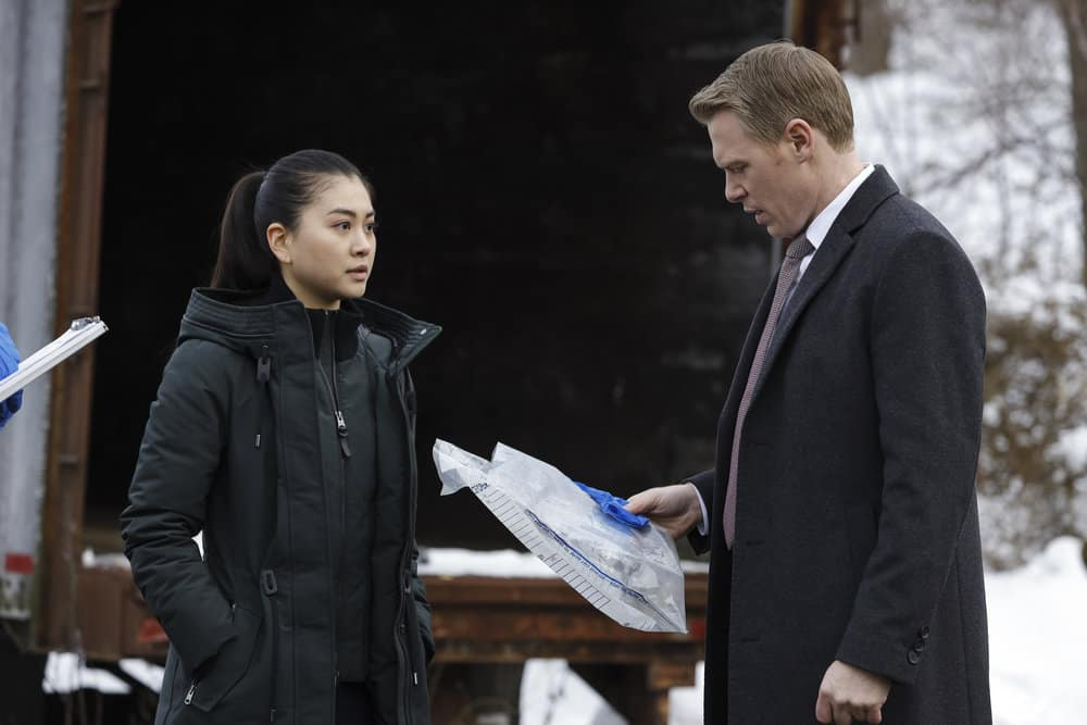 "THE BLACKLIST Season 8 Episode 10 -- ""Dr. Laken Perillos (#70)"" Episode 810 -- Pictured: (l-r) Laura Sohn as Agent Alina Park, Diego Klattenhoff as Donald Ressler -- (Photo by: Will Hart/NBC)"