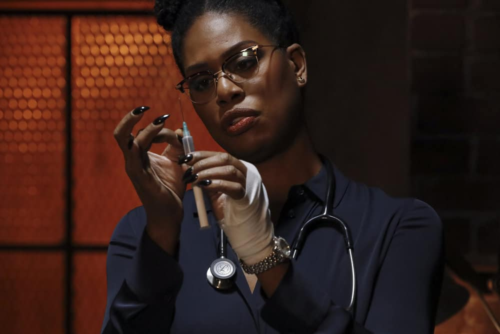 "THE BLACKLIST Season 8 Episode 10 -- ""Dr. Laken Perillos (#70)"" Episode 810 -- Pictured: Laverne Cox as Dr. Laken Perillos -- (Photo by: Will Hart/NBC)"