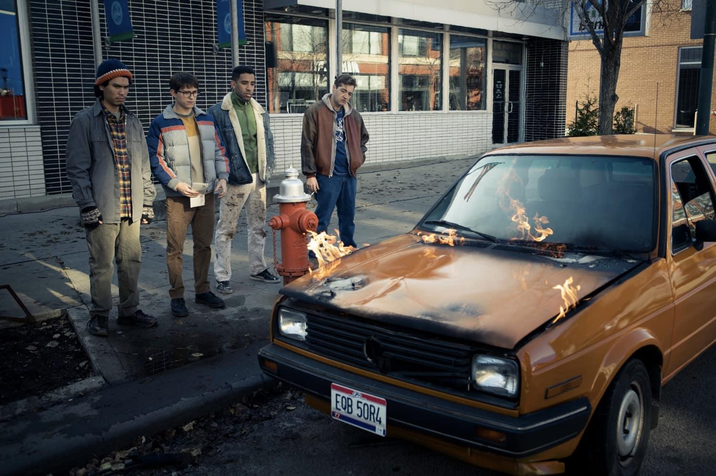 "Forrest Goodluck, Tom Holland, Kyle Harvey and Michael Gandolfini in ""Cherry,"" now streaming on Apple TV+"