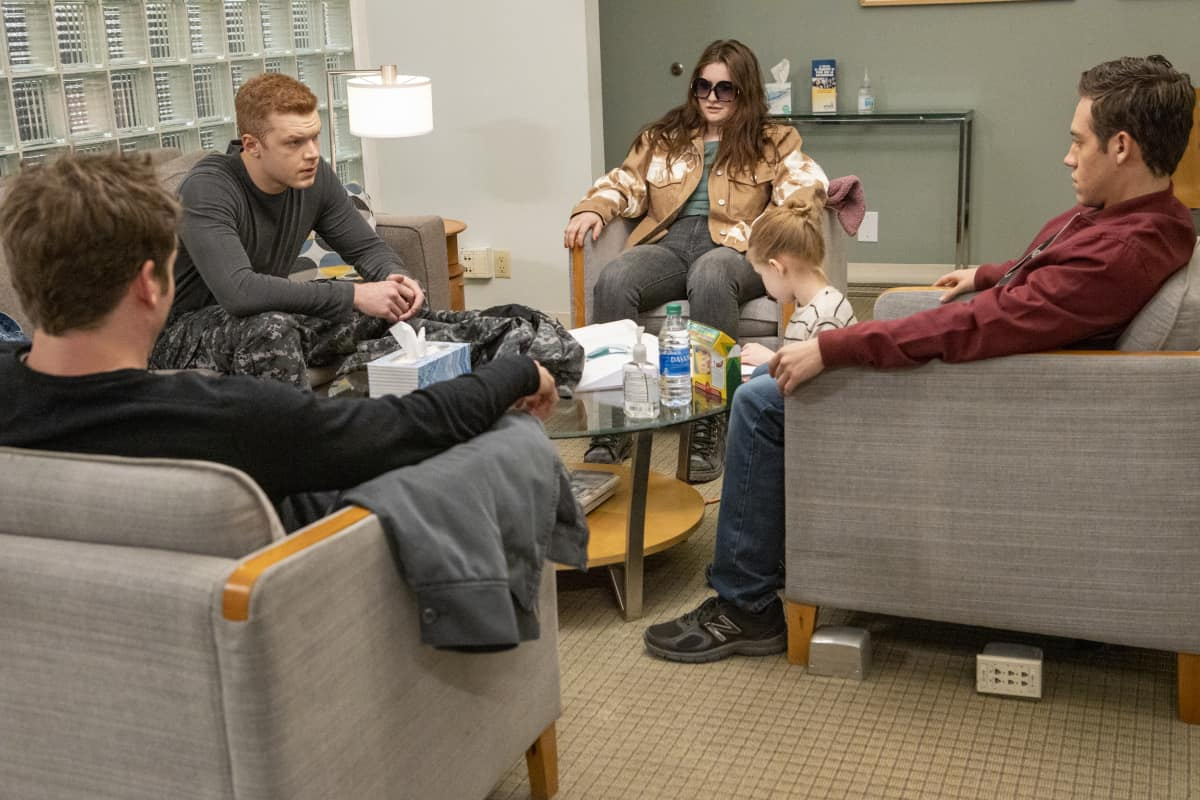"Shameless Season 11 Episode 8 (L-R): Cameron Monaghan as Ian Gallagher, Emma Kenney as Debbie Gallagher, Ethan Cutkosky as Carl Gallagher in SHAMELESS, ""Cancelled"". Photo Credit: Paul Sarkis/SHOWTIME."