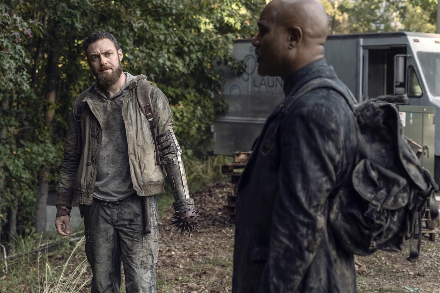 Ross Marquand as Aaron, Seth Gilliam as Gabriel - The Walking Dead _ Season 10, Episode 19 - Photo Credit: Josh Stringer/AMC