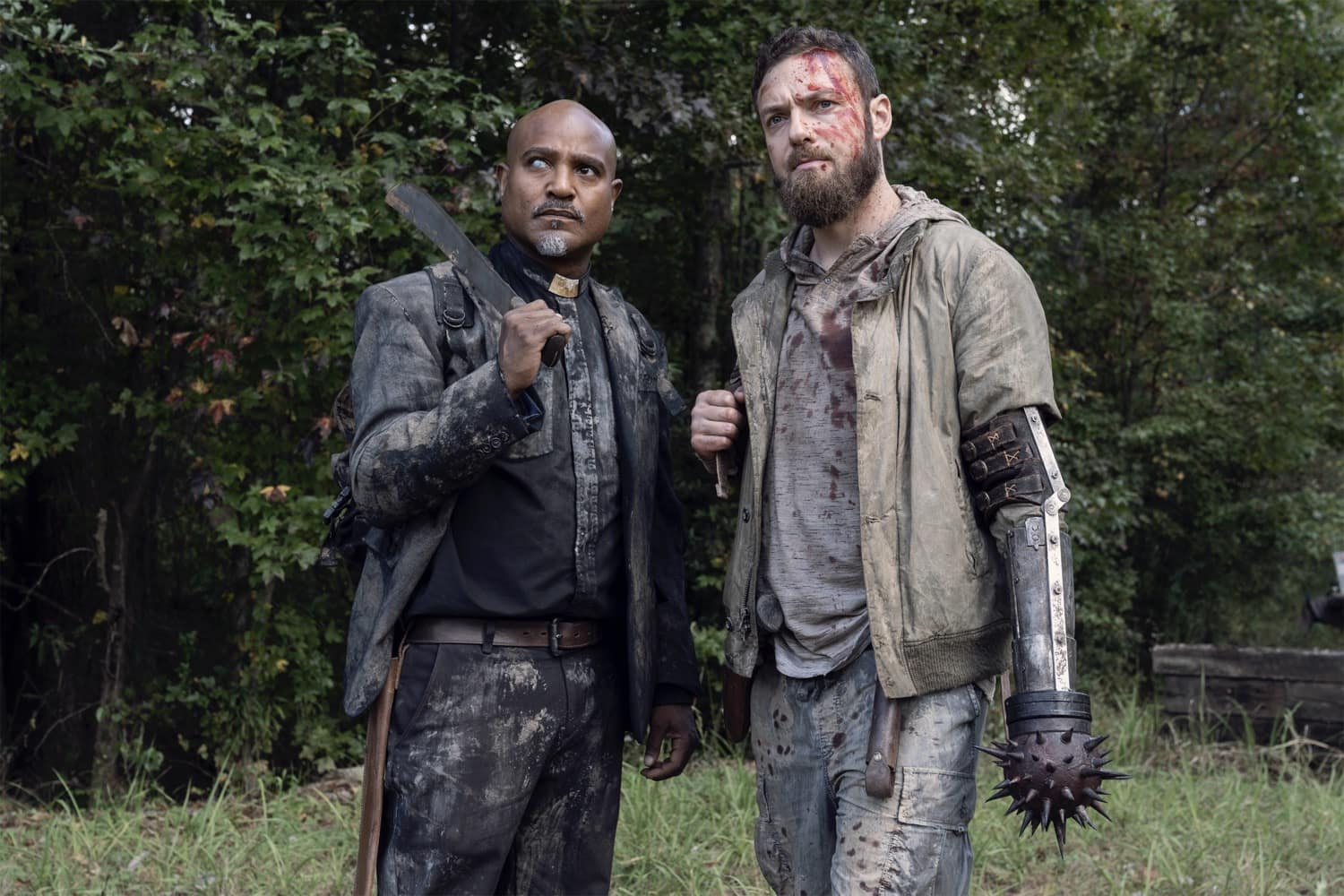 Seth Gilliam as Gabriel, Ross Marquand as Aaron - The Walking Dead _ Season 10, Episode 19 - Photo Credit: Josh Stringer/AMC