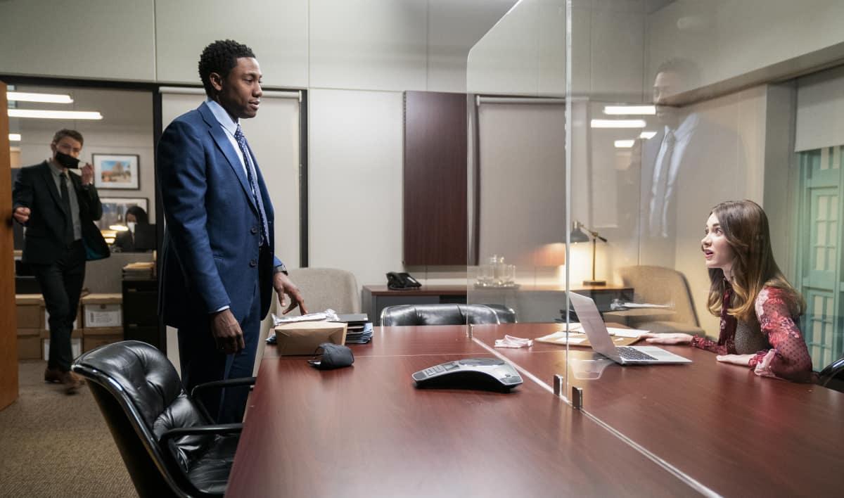 """All Rise Season 2 Episode 10 """"Georgia"""" – Pictured (L-R): Wilson Bethel as Mark Callan, J. Alex Brinson as Luke Watkins, and Audrey Corsa as Samantha Powell"""