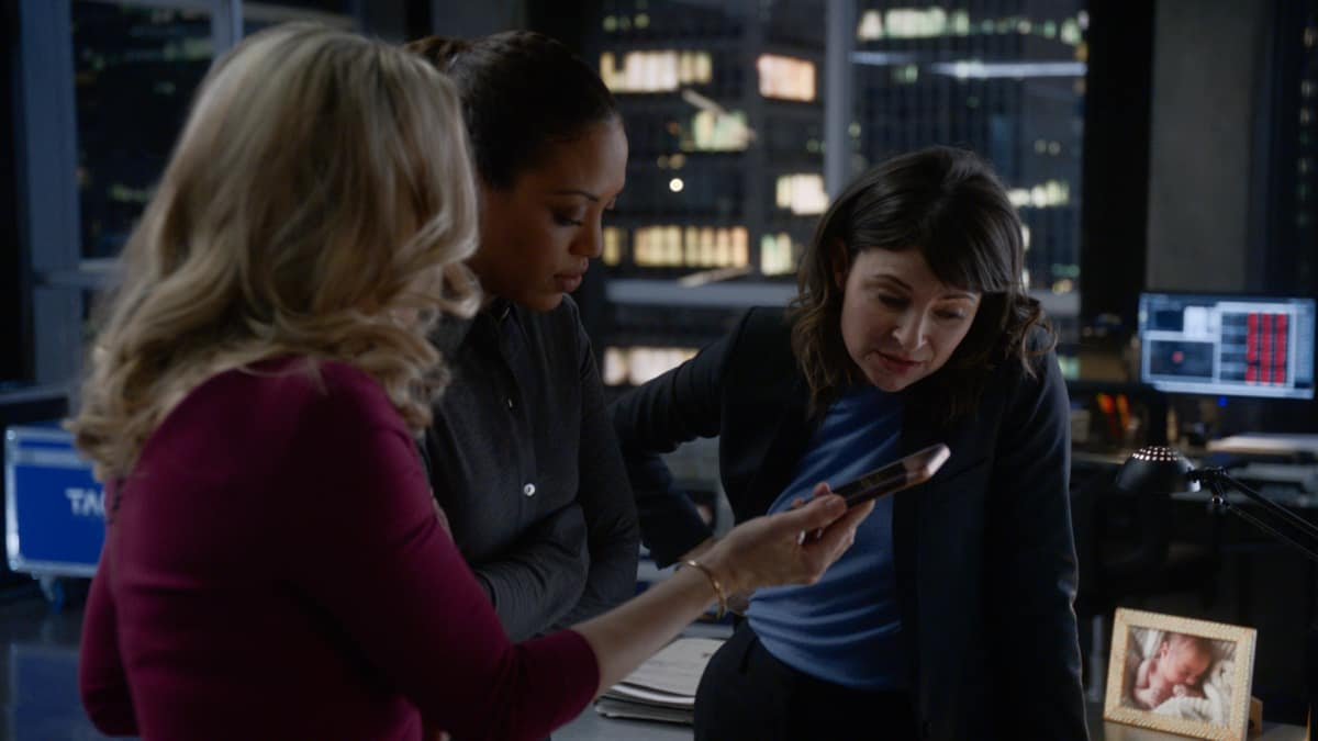 "Bull Season 5 Episode 10 ""The Boy Who Cried Murder"" – Pictured L-R: Geneva Carr as Marissa Morgan, Jaime Lee Kirchner as Danny James, and MacKenzie Meehan as Taylor Rentzel"