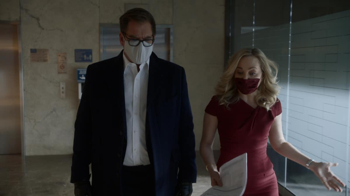"Bull Season 5 Episode 10 ""The Boy Who Cried Murder"" – Pictured L-R: Michael Weatherly as Dr. Jason Bull and Geneva Carr as Marissa Morgan"