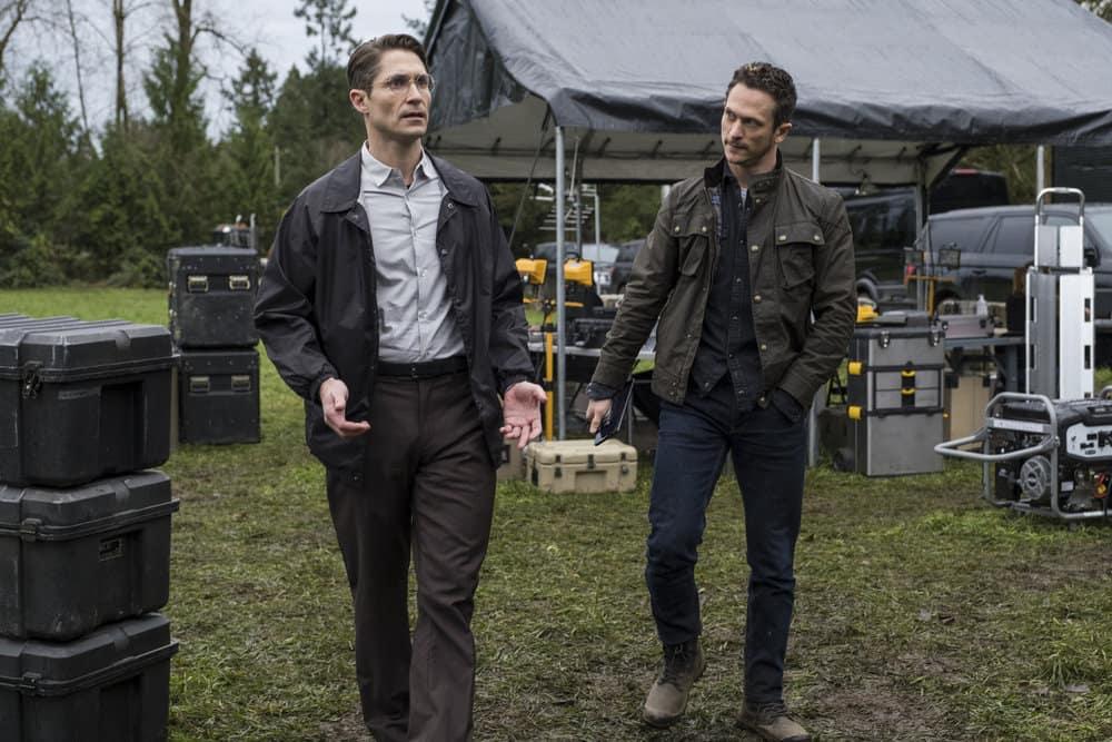 "DEBRIS Season 1 Episode 3 -- ""Solar Winds"" Episode: 103 -- Pictured: (l-r) Matthew MacCaull as Muntz, Jonathan Tucker as Bryan Beneventi -- (Photo by: James Dittiger/NBC)"