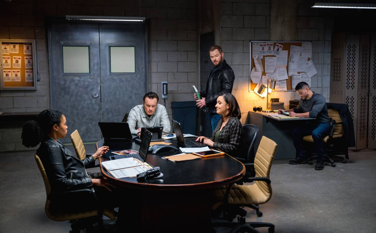 "FBI Most Wanted Season 2 Episode 9 ""One-Zero""- Pictured (L-R) Roxy Sternberg as  Special Agent Sheryll Barnes, Julian McMahon as Supervisory Special Agent Jess LaCroix, Kellan Lutz as Special Agent Kenny Crosby and  Miguel Gomez as Special Agent Ivan Ortiz"