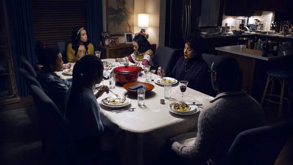 "THIS IS US -- ""I've Got This"" Episode 510 -- Pictured in this screengrab: (l-r) Lyric Ross as Deja, Asante Blackk as Malik, Faithe Herman as Annie, Susan Kelechi Watson as Beth, Eris Baker as Tess, Phylicia Rashad as Carol, Sterling K. Brown as Randall -- (Photo by: NBC)"