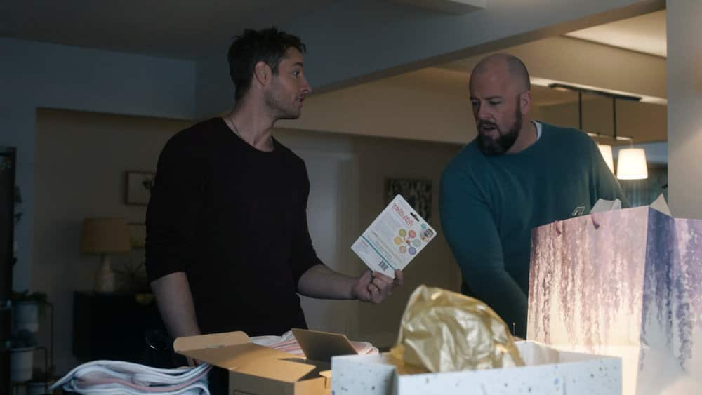 "THIS IS US -- ""I've Got This"" Episode 510 -- Pictured in this screengrab: (l-r) Justin Hartley as Kevin, Chris Sullivan as Toby -- (Photo by: NBC)"