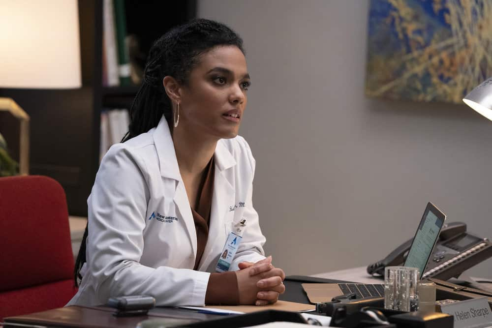 """NEW AMSTERDAM -- """"Safe Enough"""" Episode 303 -- Pictured: Freema Agyeman as Dr. Helen Sharpe -- (Photo by: Virginia Sherwood/NBC)"""