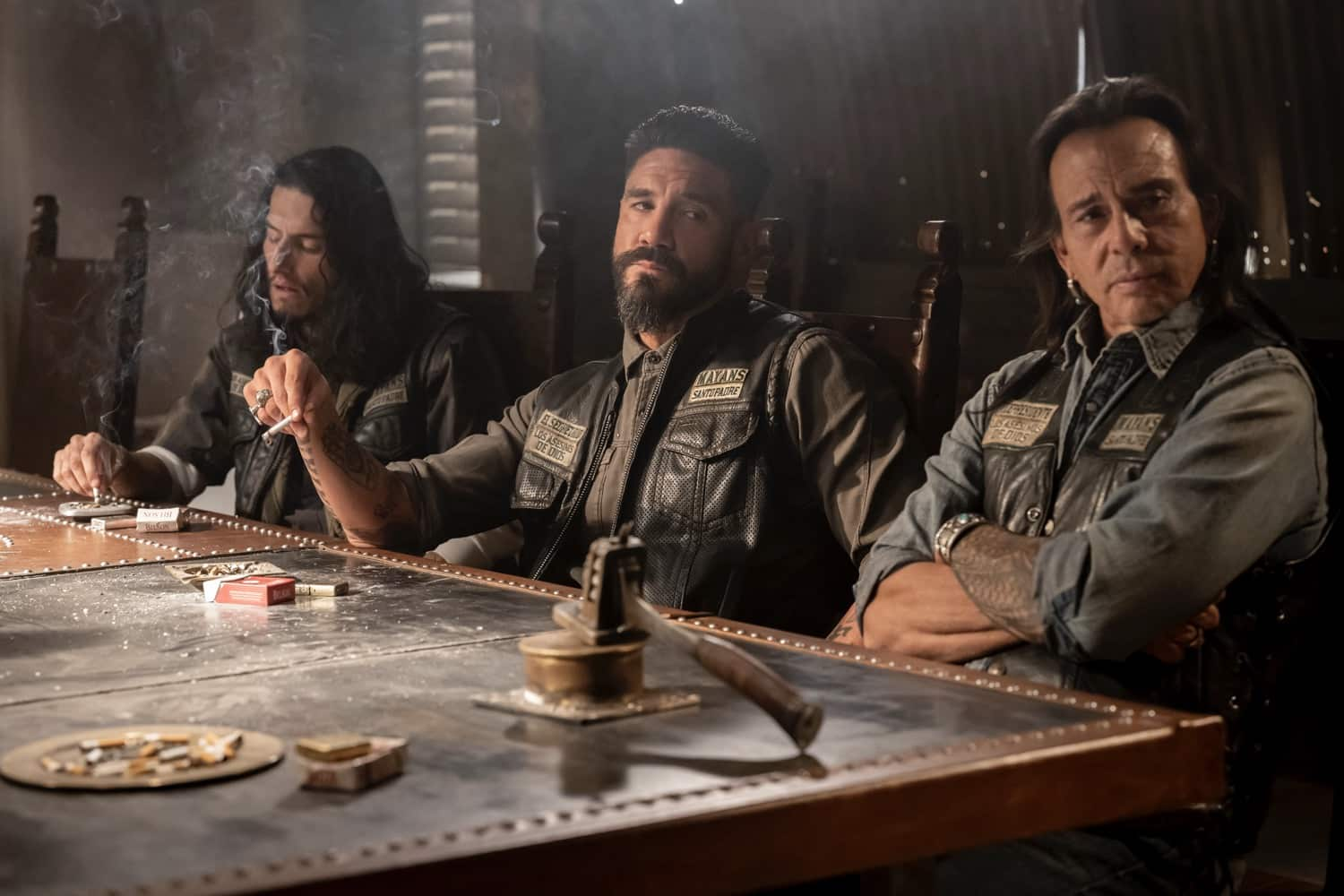 "MAYANS M.C. -- ""The Orneriness of Kings"" -- Season 3, Episode 2  (Airs March 16)  Pictured: Richard Cabral as Johnny ""Coco"" Cruz, Clayton Cardenas as Angel Reyes, Raoul Max Trujillo as Che ""Taza"" Romero. CR: Prashant Gupta/FX"