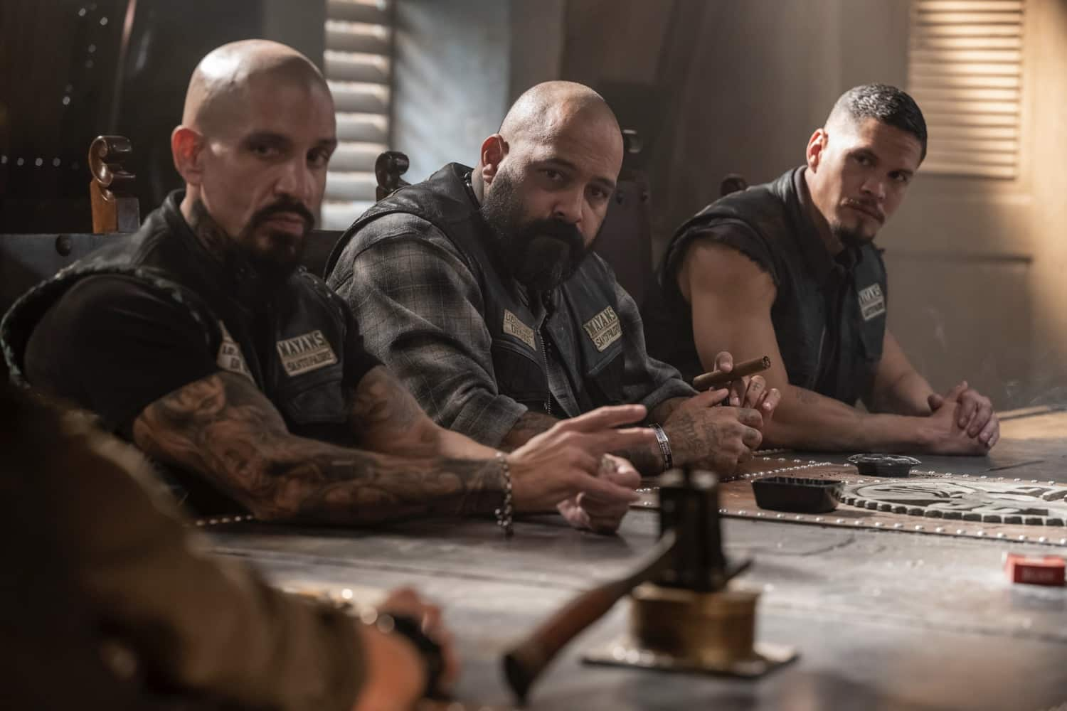 "MAYANS M.C. -- ""The Orneriness of Kings"" -- Season 3, Episode 2  (Airs March 16)  Pictured: Joseph Lucero as Neron ""Creeper"" Vargas, Vincent Rocco Vargas as Gilberto ""Gilly"" Lopez, JD Pardo as EZ Reyes. CR: Prashant Gupta/FX"
