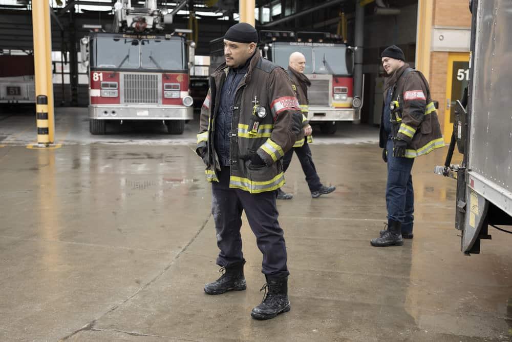 "CHICAGO FIRE -- ""Double Red"" Episode 909 -- Pictured: (l-r) Joe Minoso as Joe Cruz, Randy Flagler as Harold Capp, Taylor Kinney as Kelly Severide -- (Photo by: Adrian S. Burrows Sr./NBC)"