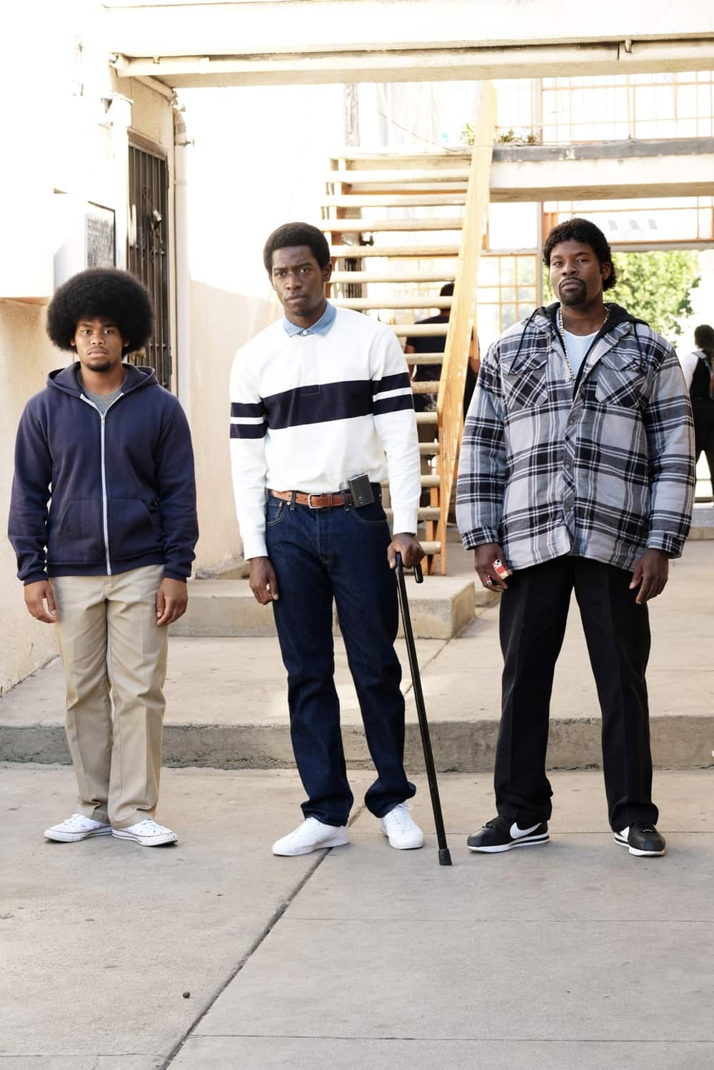 "Snowfall ""The Get Back"" -- Season 4, Episode 5 (Airs Wednesday, March 17) -- Pictured: (l-r) Isaiah John as Leon Simmons, Damson Idris as Franklin Saint, Amin Joseph as Jerome Saint. CR: Ray Mickshaw/FX"