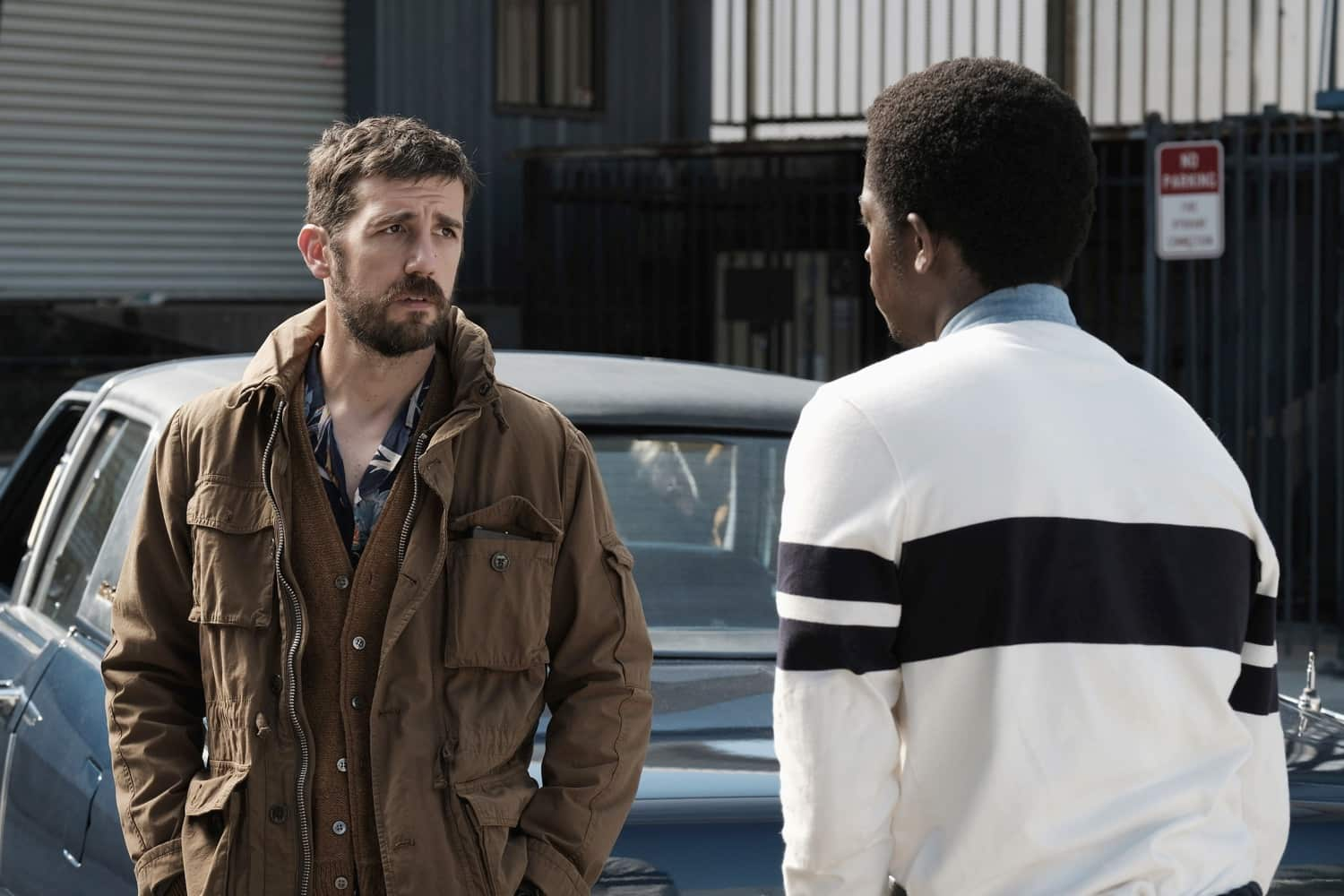 "Snowfall ""The Get Back"" -- Season 4, Episode 5 (Airs Wednesday, March 17) -- Pictured: (l-r) Carter Hudson as Teddy McDonald, Damson Idris as Franklin Saint. CR: Ray Mickshaw/FX"