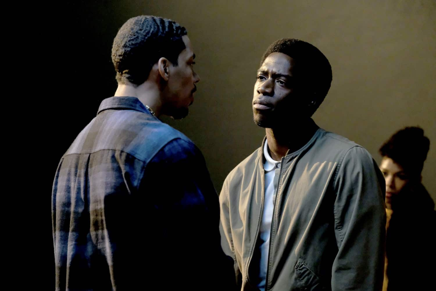 "Snowfall ""The Get Back"" -- Season 4, Episode 5 (Airs Wednesday, March 17) -- Pictured: (l-r) Melvin Gregg as Manboy, Damson Idris as Franklin Saint. CR: Ray Mickshaw/FX"