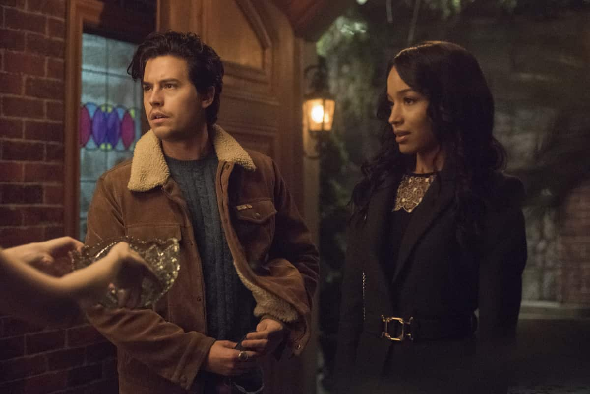 "Riverdale -- ""Chapter Eighty-Four: Lock & Key"" -- Image Number: RVD508b_0122r -- Pictured (L-R): Cole Sprouse as Jughead Jones and Erinn Westbrook as Tabitha Tate -- Photo: Dean Buscher/The CW -- © 2021 The CW Network, LLC. All Rights Reserved."