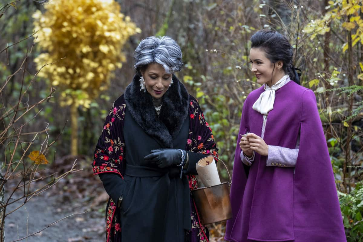 """Nancy Drew -- """"The Quest for the Spider Sapphire"""" -- Image Number: NCD208a_0058r.jpg -- Pictured (L-R): Judith Maxie as Diana Marvin and Maddison Jaizani as Bess -- Photo: Colin Bentley/The CW -- © 2021 The CW Network, LLC. All Rights Reserved."""