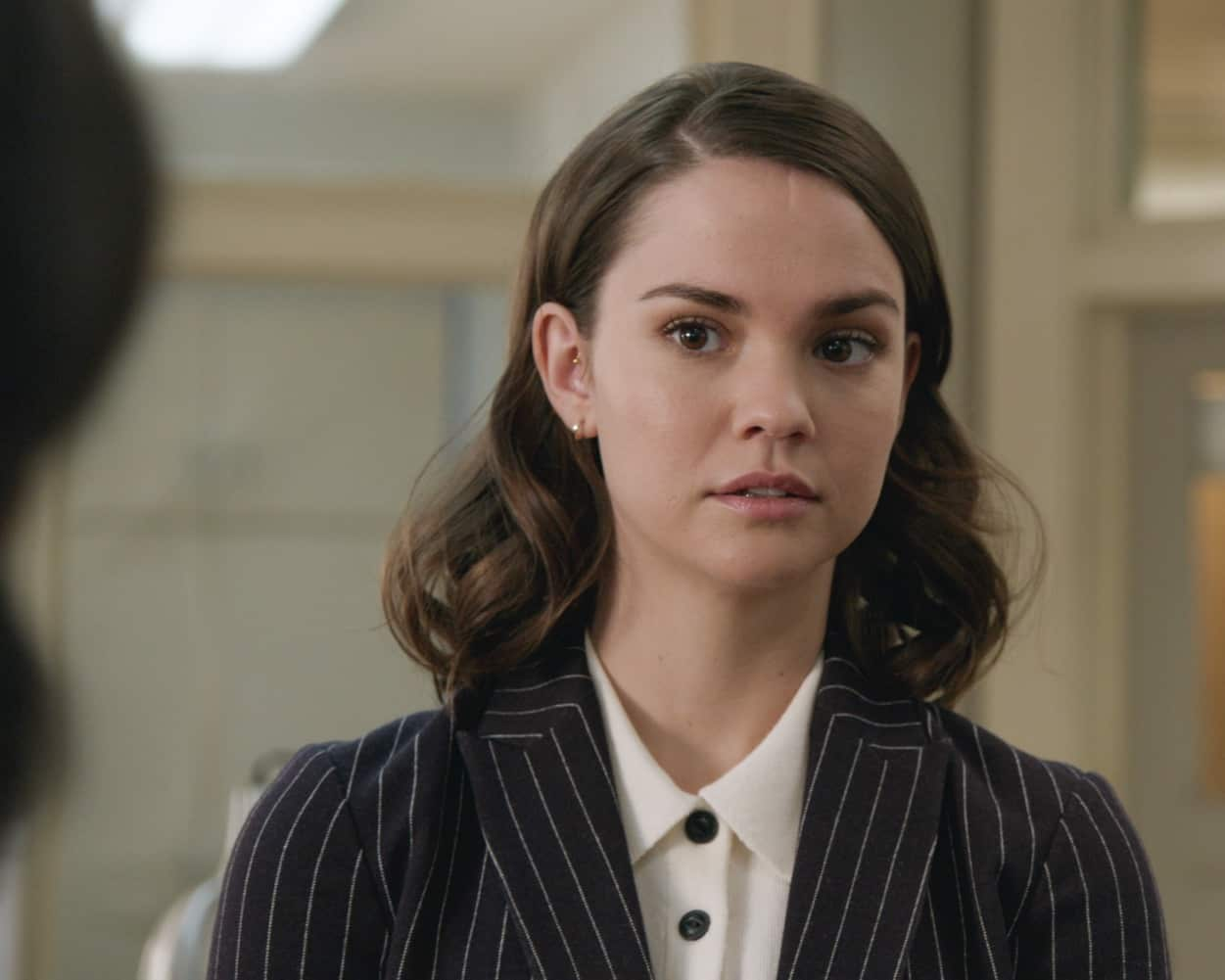 "GOOD TROUBLE - ""Because, Men"" - Callie questions Kathleen's methods regarding Jerod's case; Mariana and the girls pitch their new app idea; Malika learns a surprising fact about Dyonte; Davia deals with her feelings towards Dennis; Gael struggles with his boss's demands. This episode of ""Good Trouble"" airs Wednesday, March 17 at 10:00p.m. ET/PT on Freeform. (Freeform) MAIA MITCHELL"