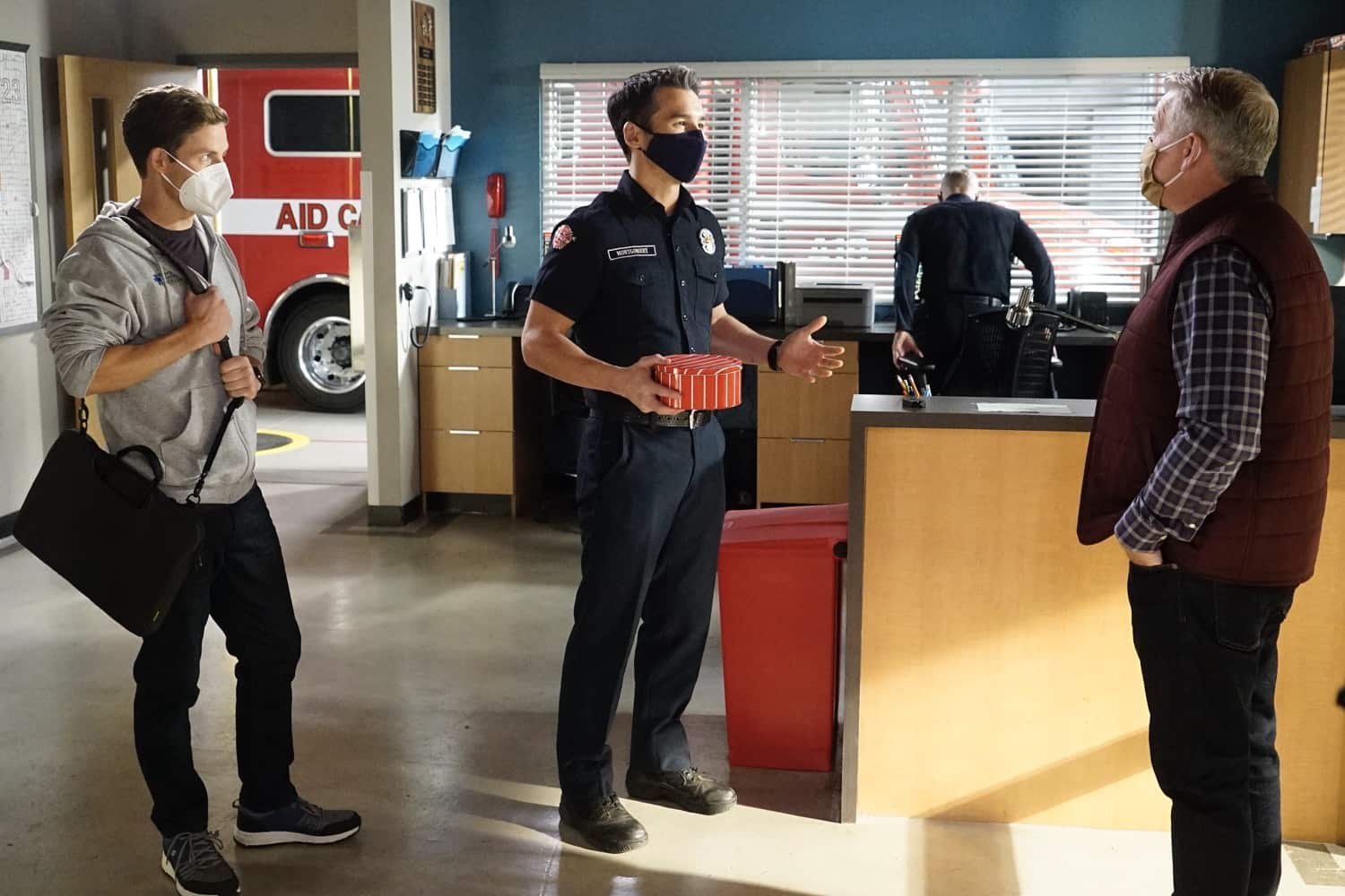 """STATION 19 - """"Learning to Fly"""" – The Station 19 crew is called to a cult gathering where they find their leader, Brother John, dancing on the roof and claiming he can fly. Meanwhile, Travis gets a surprise visit from his father, and Dean makes a difficult decision that could affect his career trajectory on an all-new episode of """"Station 19,"""" THURSDAY, MARCH 18 (8:00-9:00 p.m. EST), on ABC. (ABC/Kelsey McNeal) LACHLAN BUCHANAN, JAY HAYDEN"""