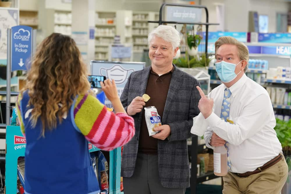 "SUPERSTORE -- ""Lowell Anderson"" Episode 613 -- Pictured: (l-r) Dave Foley as Lowell Anderson, Mark McKinney as Glenn -- (Photo by: Chris Haston/NBC)"