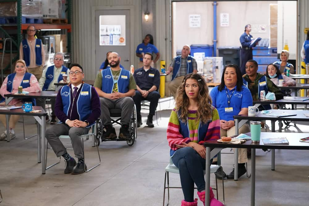 "SUPERSTORE -- ""Lowell Anderson"" Episode 613 -- Pictured: (l-r) Kelly Schumann as Justine, Nico Santos as Mateo, Colton Dunn as Garrett, Jon Barinholtz as Marcus, Nichole Sakura as Cheyenne, Kaliko Kauahi as Sandra -- (Photo by: Chris Haston/NBC)"