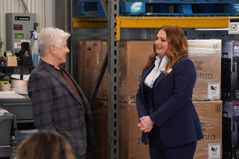 "SUPERSTORE -- ""Lowell Anderson"" Episode 613 -- Pictured: (l-r) Dave Foley as Lowell Anderson, Lauren Ash as Dina -- (Photo by: Chris Haston/NBC)"