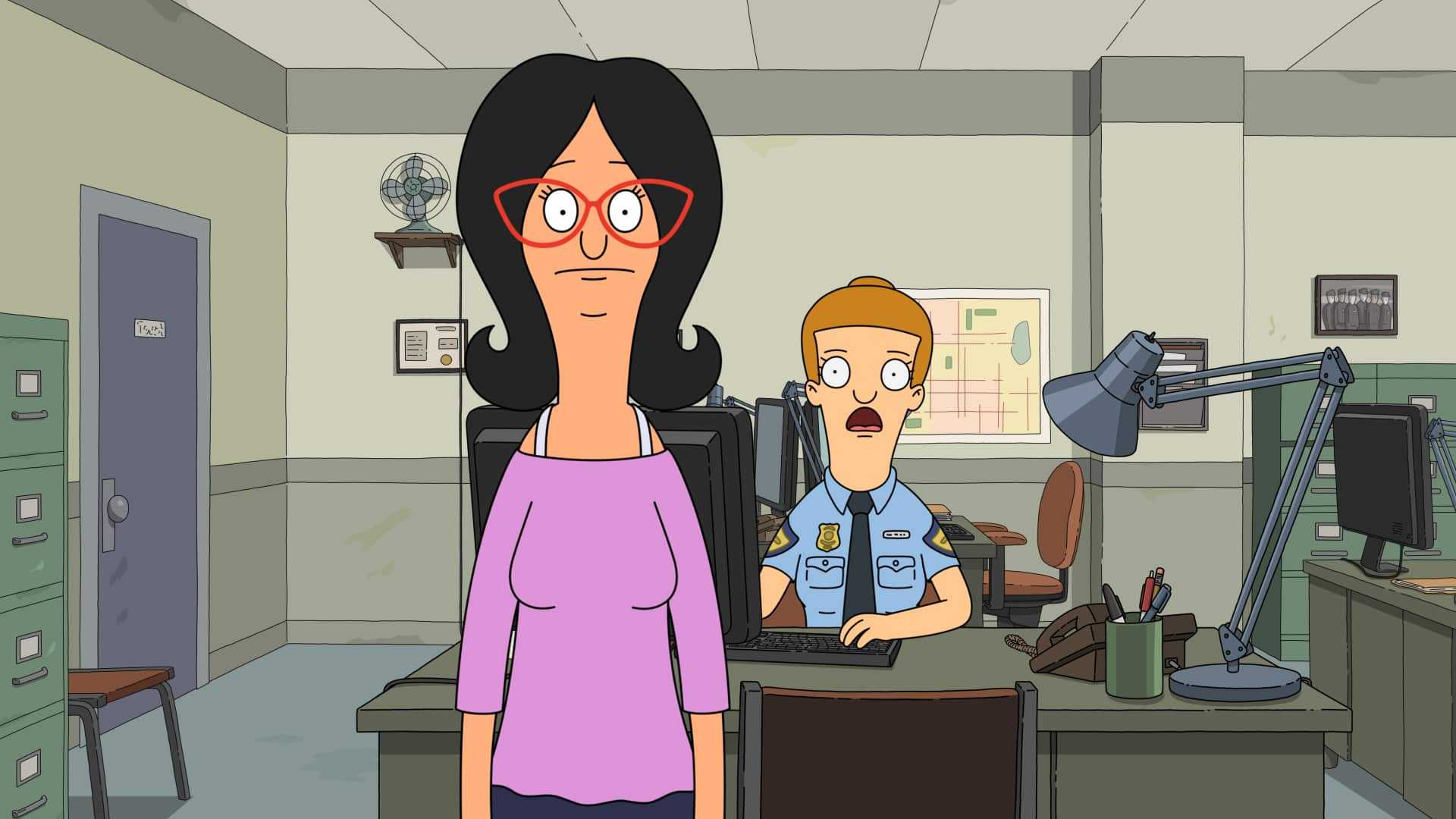 """BOB'S BURGERS: LindaÕs new routine of diet and exercise gives her gastrointestinal trouble on the day of parent-teacher-student conferences in the """"Sheshank Redumption"""" episode of BOBÕS BURGERS airing Sunday, March 21 (9:00-9:30 PM ET/PT) on FOX. Guest voice Tig Notaro. BOBÕS BURGERS © 2021 by 20th Television."""