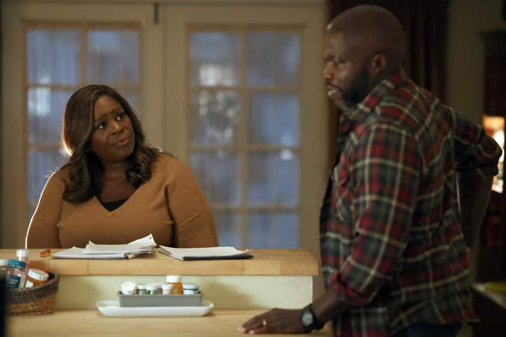 "GOOD GIRLS -- ""Fall Guy"" Episode 403 -- Pictured: (l-r) Retta as Ruby Hill, Reno Wilson as Stan Hill -- (Photo by: Jordin Althaus/NBC)"