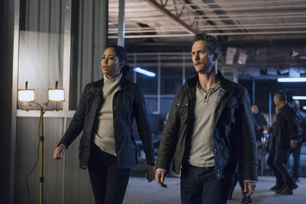 "DEBRIS -- ""In Universe"" Episode 104 -- Pictured: (l-r) Riann Steele as Finola Jones, Jonathan Tucker as Bryan Beneventi -- (Photo by: James Dittiger/NBC)"