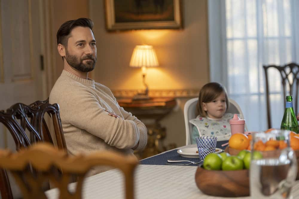 """NEW AMSTERDAM -- """"All I Need"""" Episode 304 -- Pictured: (l-r) Ryan Eggold as Dr. Max Goodwin, Nora and Opal Clow as Luna Goodwin -- (Photo by: Scott Gries/NBC)"""