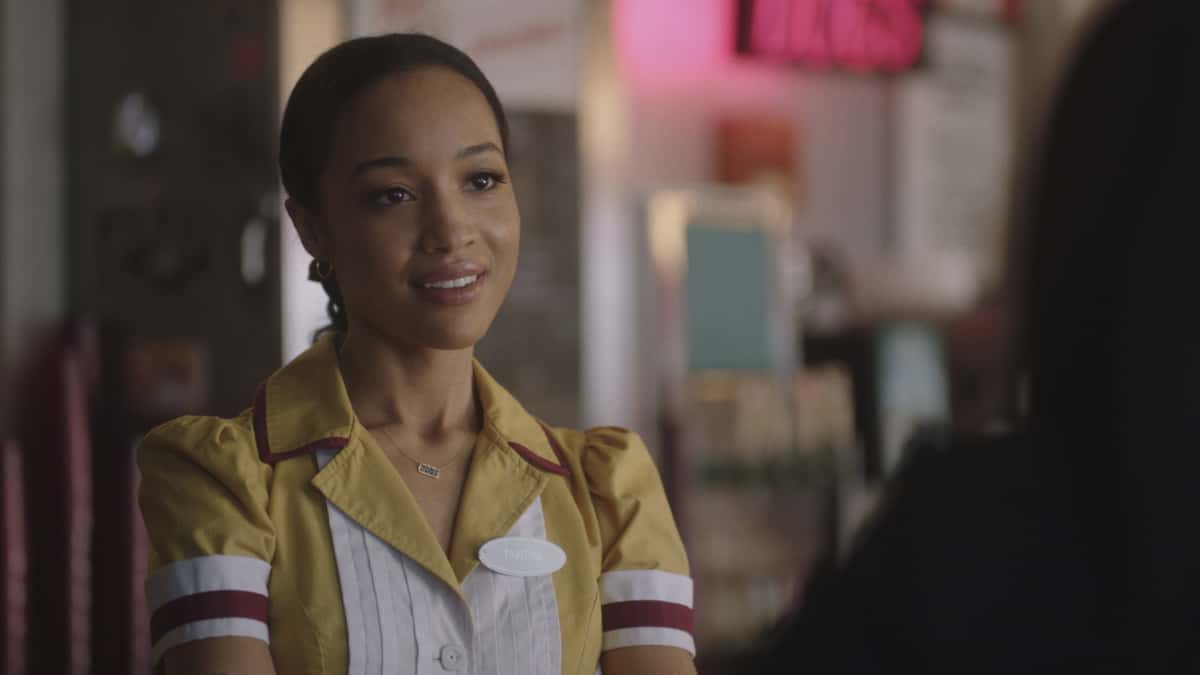 """Riverdale Season 5 Episode 9 -- """"Chapter Eighty-Five: Destroyer"""" -- Image Number: RVD508a_0245r -- Pictured: Erinn Westbrook as Tabitha Tate -- Photo: The CW -- © 2021 The CW Network, LLC. All Rights Reserved."""