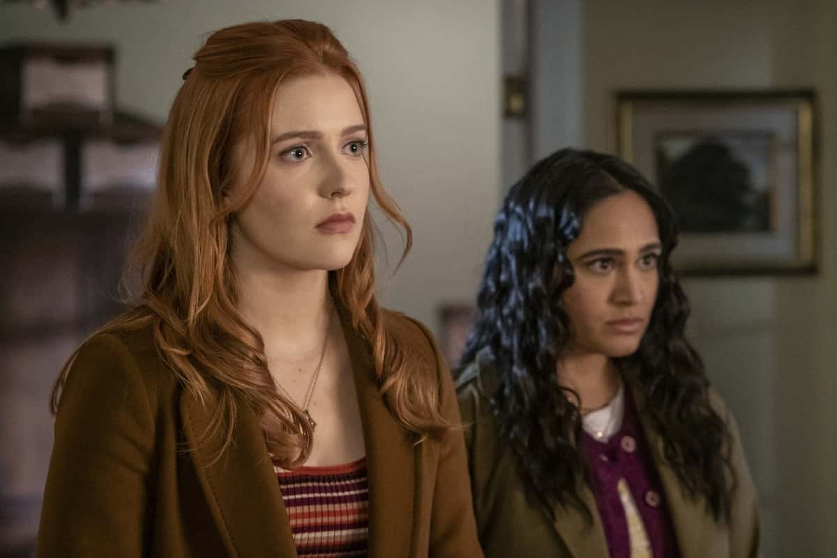 """Nancy Drew Season 2 Episode 9 -- """"The Bargain of the Blood Shroud"""" -- Image Number: NCD209b_1077r.jpg -- Pictured (L-R):  Kenedy McMann as Nancy and Aadila Dosani as Amanda Bobbsey -- Photo: Colin Bentley/The CW -- © 2021 The CW Network, LLC. All Rights Reserved."""