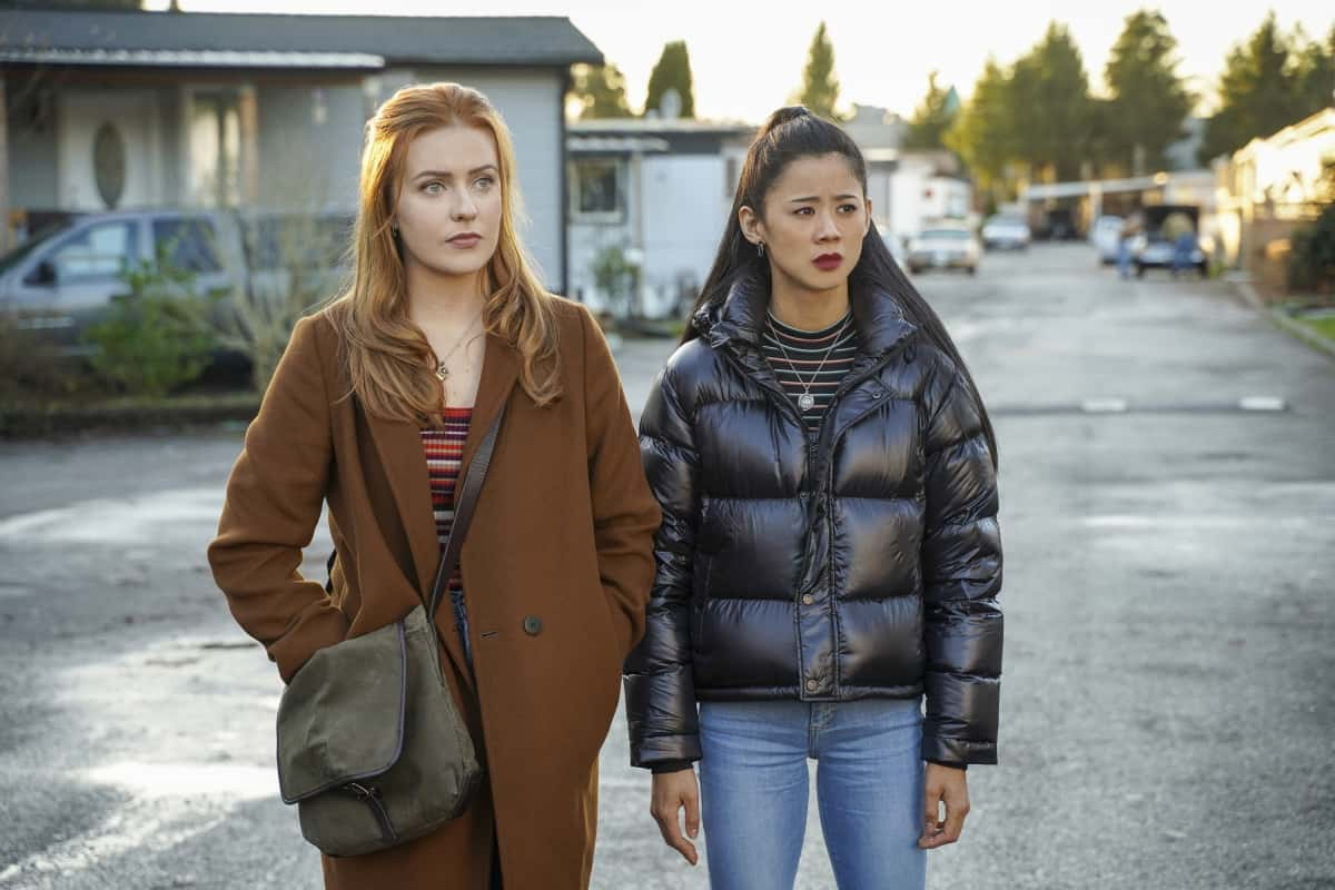 """Nancy Drew Season 2 Episode 9 -- """"The Bargain of the Blood Shroud"""" -- Image Number: NCD209a_0896r.jpg -- Pictured (L-R):  Kennedy McMann as Nancy and Leah Lewis as George -- Photo: Colin Bentley/The CW -- © 2021 The CW Network, LLC. All Rights Reserved."""