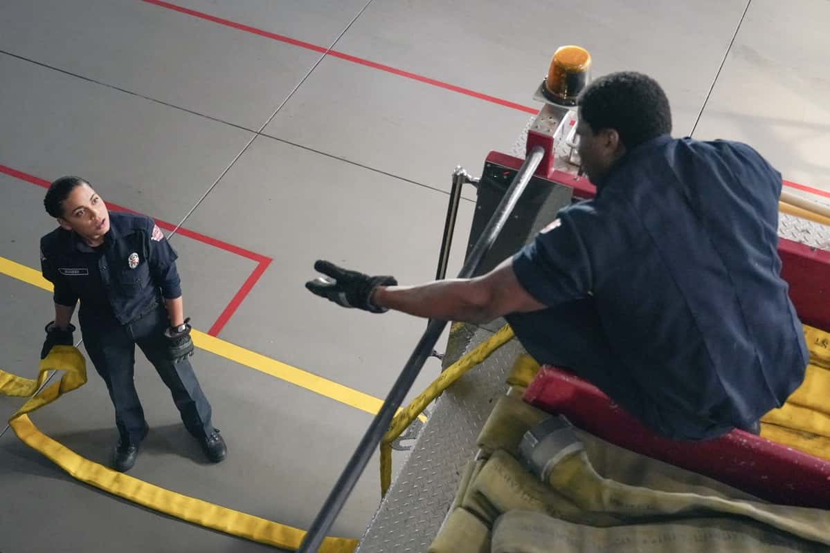 """STATION 19 Season 4 Episode 8  - """"Make No Mistake, He's Mine"""" – Vic's love life is complicated again as she learns of a shocking secret. Meanwhile, Andy grows frustrated at Sullivan for undermining her authority, and Maya struggles to keep her jealousy at bay when one of Carina's old flames comes to visit on a new episode of """"Station 19,"""" THURSDAY, MARCH 25 (8:00-9:00 p.m. EDT), on ABC. (ABC/Eric McCandless) BARRETT DOSS"""