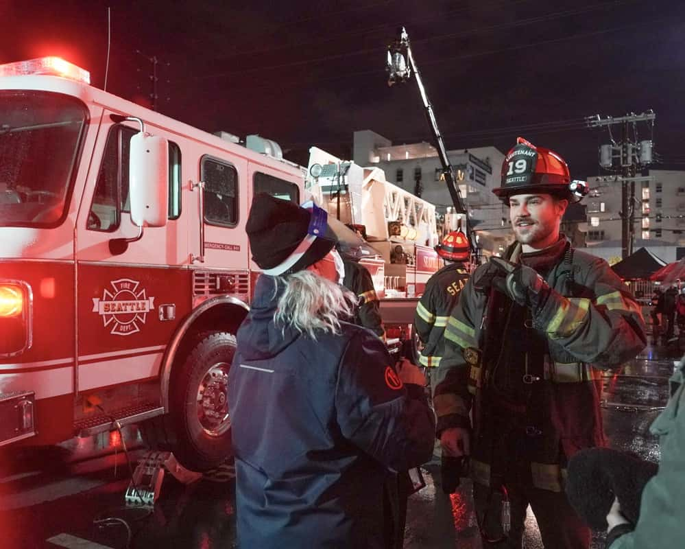 """STATION 19 Season 4 Episode 8 - """"Make No Mistake, He's Mine"""" – Vic's love life is complicated again as she learns of a shocking secret. Meanwhile, Andy grows frustrated at Sullivan for undermining her authority, and Maya struggles to keep her jealousy at bay when one of Carina's old flames comes to visit on a new episode of """"Station 19,"""" THURSDAY, MARCH 25 (8:00-9:00 p.m. EDT), on ABC. (ABC/Eric McCandless) GREY DAMON"""