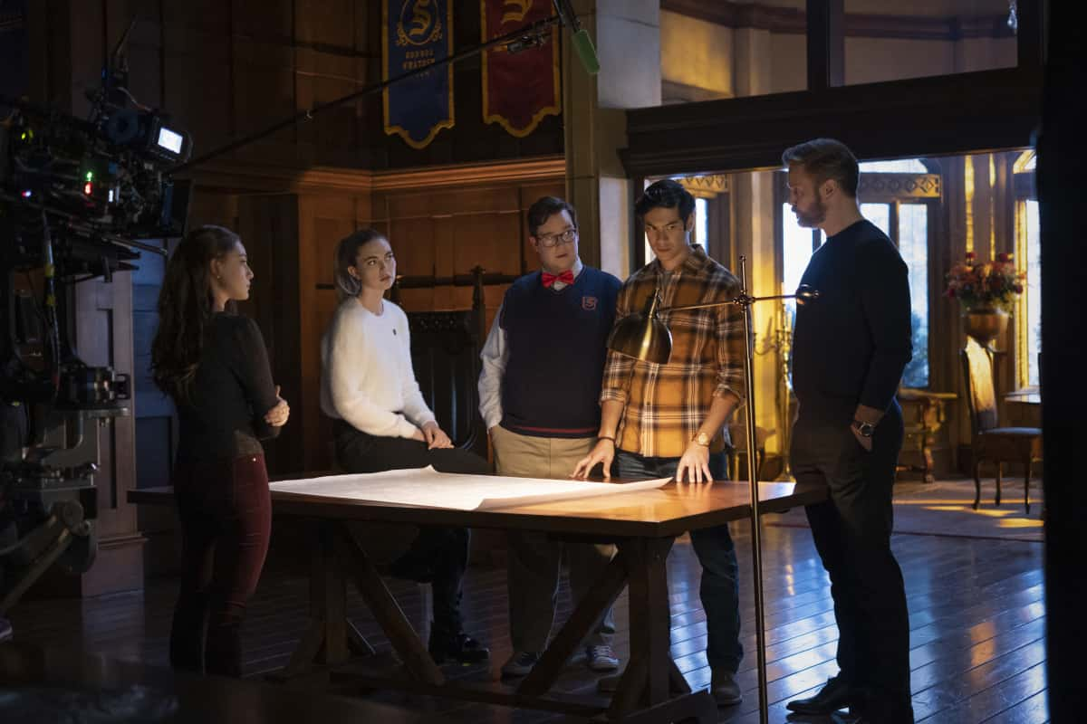"""Legacies Season 3 Episode 8 -- """"Long Time, No See"""" -- Image Number: XXX -- Pictured (L-R): Danielle Rose Russell as Hope Mikaelson, Jenny Boyd as Lizzie Saltzman, Elijah B. Moore as Wade, Ben Levin as Jed and Matthew Davis as Alaric Saltzman -- Photo: Mark Hill/The CW -- © 2021 The CW Network, LLC. All Rights Reserved."""