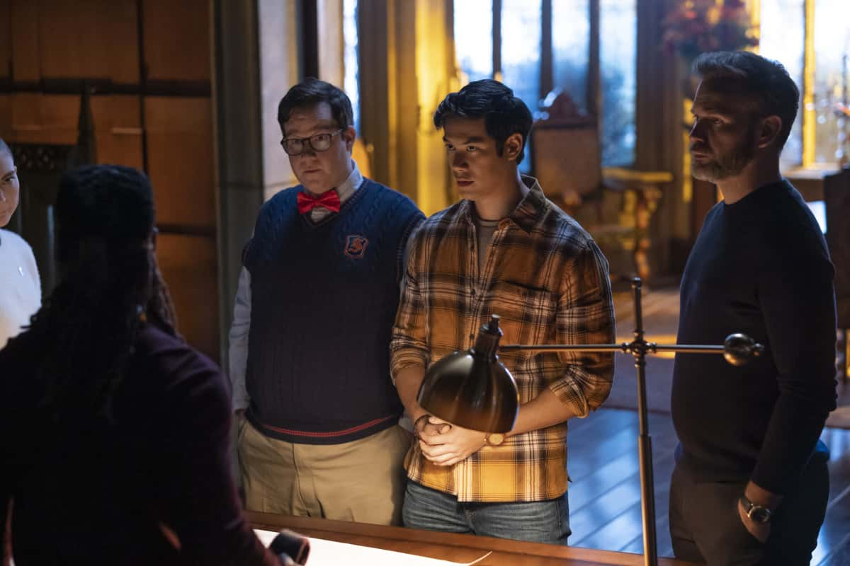 """Legacies Season 3 Episode 8 -- """"Long Time, No See"""" -- Image Number: XXX -- Pictured (L-R): Chris Lee as Kaleb, Elijah B. Moore as Wade, Ben Levin as Jed and Matthew Davis as Alaric Saltzman -- Photo: Mark Hill/The CW -- © 2021 The CW Network, LLC. All Rights Reserved."""