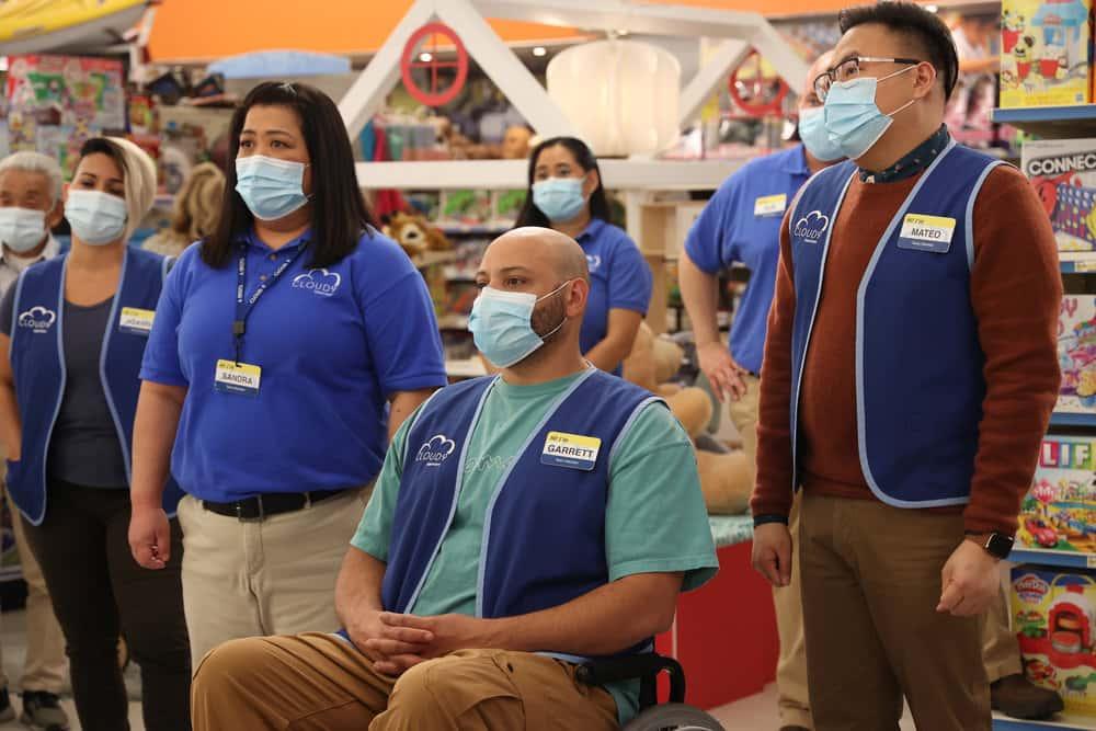 "SUPERSTORE Season 6 Episode 14 -- ""Perfect Store"" Episode 614 -- Pictured: (l-r) Kaliko Kauahi as Sandra, Colton Dunn as Garrett, Nico Santos as Mateo -- (Photo by: Jordin Althaus/NBC)"