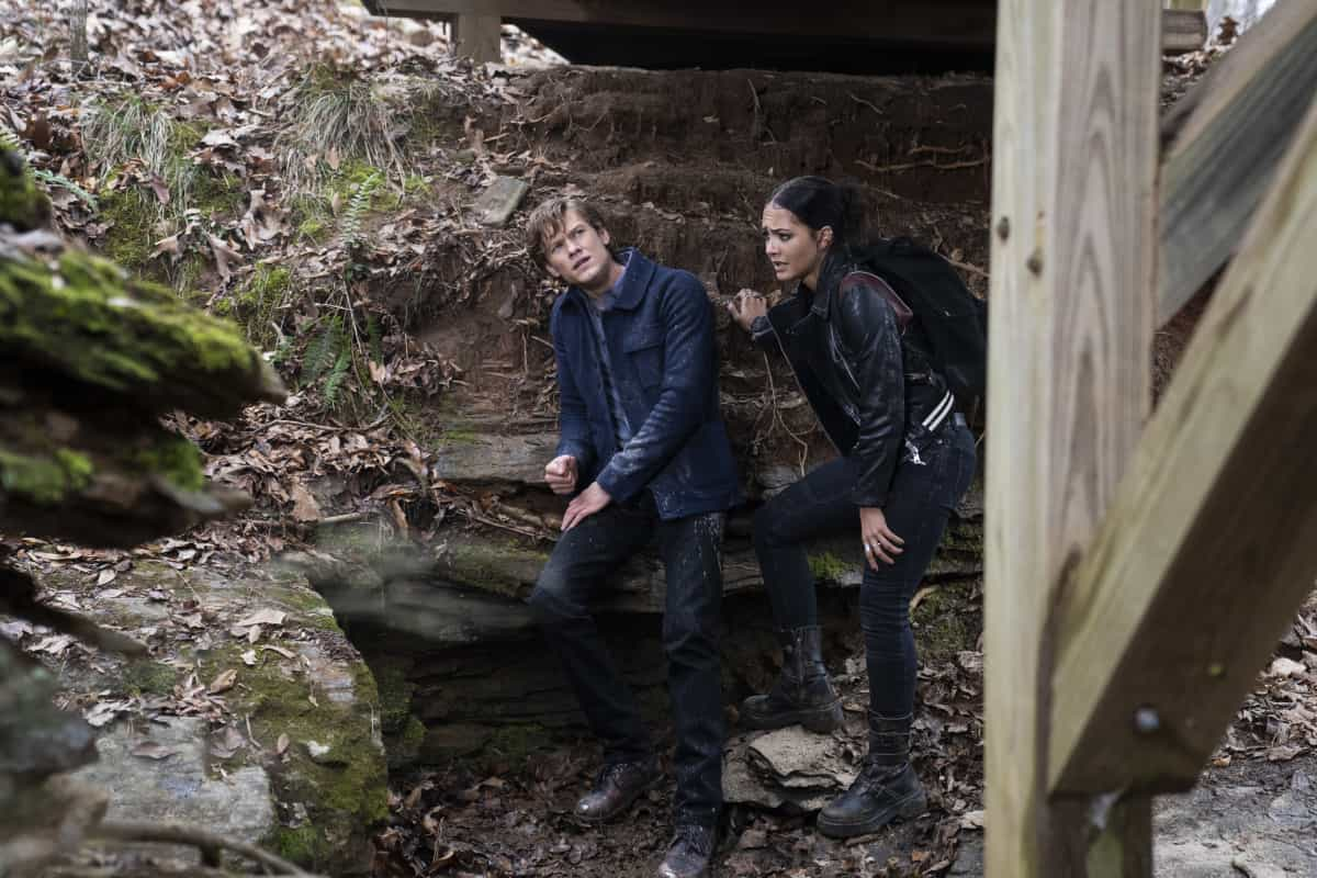 """MacGyver Season 5 Episode 11 """"C8H7CIO + Nano-Trackers + Resistance + Maldives + Mind Games"""" -- Mac and Riley head overseas together to prevent a governmental collapse and inadvertently inhale new deadly microscopic technology, on MACGYVER, Friday, March 26 (8:00-9:00 PM, ET/PT) on the CBS Television Network. Pictured: Lucas Till as Angus """"Mac"""" MacGyver, Tristin Mays as Riley Davis.  Photo: Nathan Bolster/CBS ©2020 CBS Broadcasting, Inc. All Rights Reserved."""