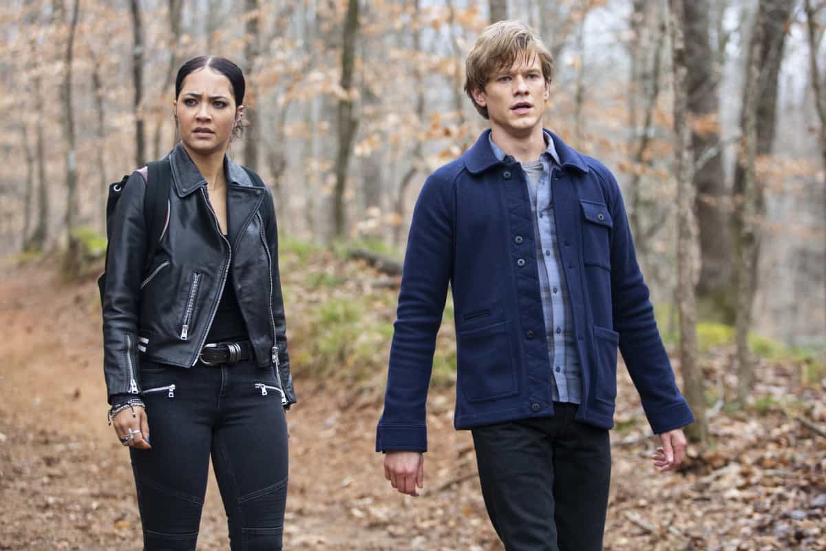 """MacGyver Season 5 Episode 11 """"C8H7CIO + Nano-Trackers + Resistance + Maldives + Mind Games"""" -- Mac and Riley head overseas together to prevent a governmental collapse and inadvertently inhale new deadly microscopic technology, on MACGYVER, Friday, March 26 (8:00-9:00 PM, ET/PT) on the CBS Television Network. Pictured: Tristin Mays as Riley Davis, Lucas Till as Angus """"Mac"""" MacGyver.  Photo: Nathan Bolster/CBS ©2020 CBS Broadcasting, Inc. All Rights Reserved."""