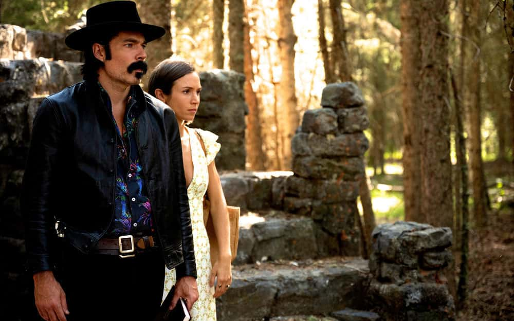 "WYNONNA EARP Season 4 Episode 10 -- ""Life Turned Her That Way"" Episode 410 -- Pictured: (l-r) Tim Rozon as Doc Holliday, Dominique Provost-Chalkley as Waverly Earp -- (Photo by: Michelle Faye/Wynonna Earp Productions, Inc./SYFY)"