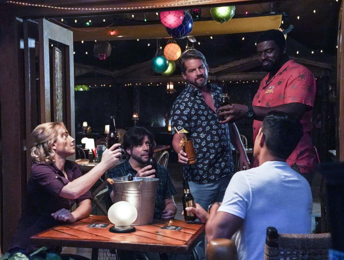 """Magnum P.I. Season 3 Episode 11 """"The Lies We Tell"""" -- When a married woman asks Magnum and Higgins to find her lover\'s killer because she doesn\'t want to expose the affair to the police, they find that the victim wasn\'t who he claimed to be. Also, Rick visits Icepick (Corbin Bernsen), whose health has taken a turn for the worse, on MAGNUM P.I., Friday, March 26 (9:00-10:00 PM, ET/PT) on the CBS Television Network.  Pictured L-R: Perdita Weeks as Juliet Higgins, Christopher Thornton as Kenny """"Shammy"""" Shamberg, Zachary Knighton as Orville """"Rick"""" Wright, Stephen Hill as Theodore """"TC"""" Calvin, and Jay Hernandez as Thomas Magnum Photo: Karen Neal/CBS 2021 CBS Broadcasting, Inc. All Rights Reserved."""